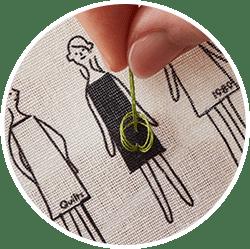 針を抜いて糸をゆっくり引きます。